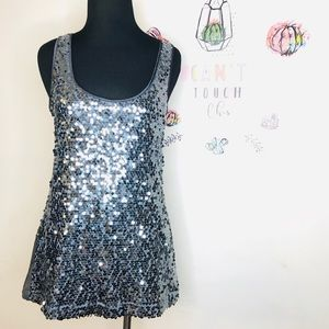 Express Gray SEQUIN NWOT Size:S STRETCH Sexy Basic